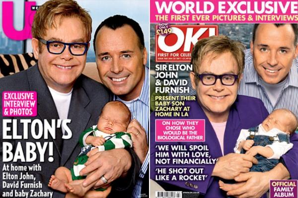 Элтон Джон с новорожденным мальчиком.